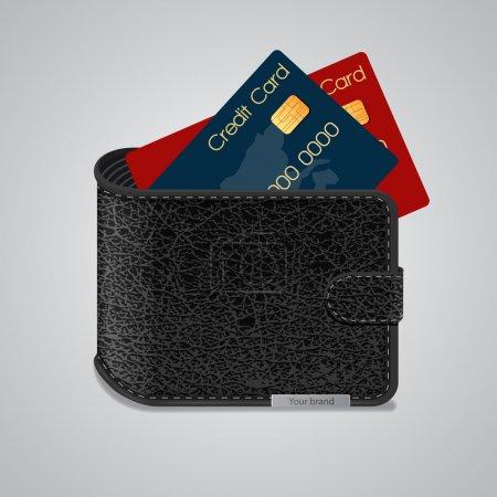Illustration pour Portefeuille en cuir avec cartes de crédit à l'intérieur. Illustration vectorielle - image libre de droit