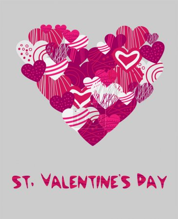 Vector background with hearts for Valentine's day.