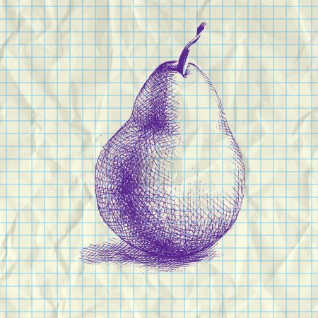 Illustration pour Illustration croquis de poire sur papier carnet . - image libre de droit