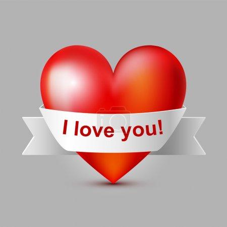 Vektorillustration eines roten Herzens mit Schleife.