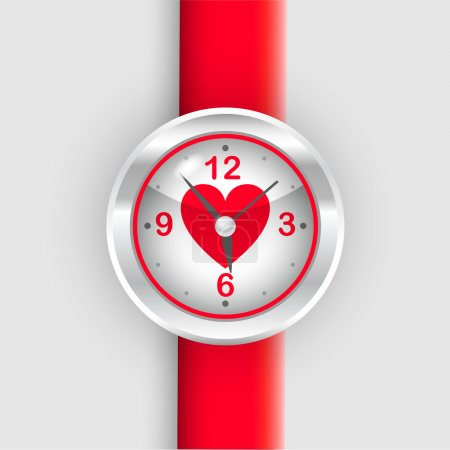 Vector red wrist watch with heart.