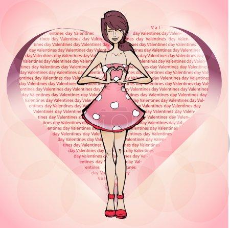 Illustration pour Fille tomber amoureuse, Saint-Valentin illustration vectorielle - image libre de droit