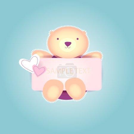 Illustration pour Jolie Saint Valentin Ours en peluche. Fond vectoriel . - image libre de droit