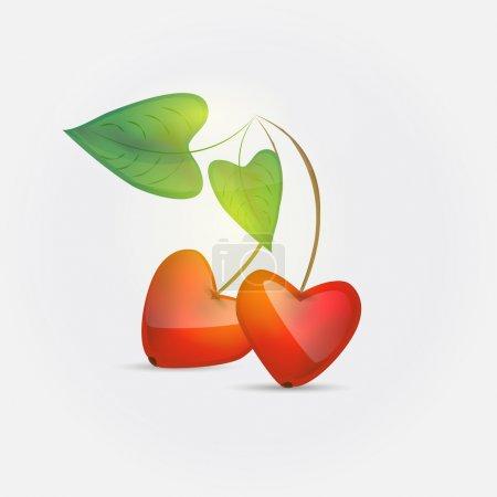 Illustration pour L'amour des cerises. Illustration vectorielle . - image libre de droit