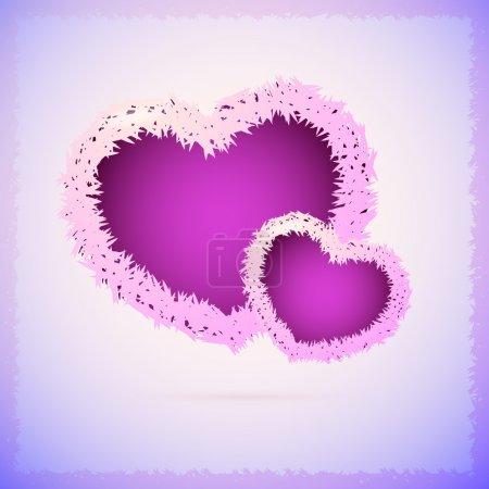 Illustration pour Fond vectoriel avec des cœurs duveteux . - image libre de droit