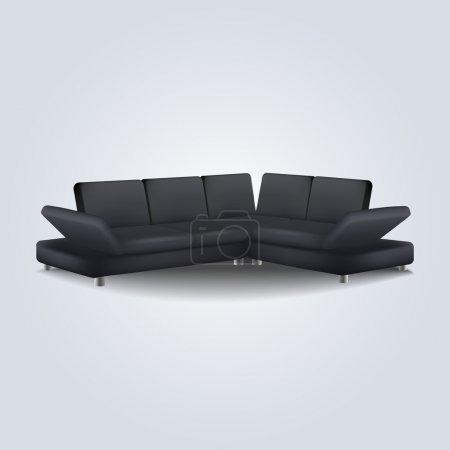Black sofa. Vector illustration.