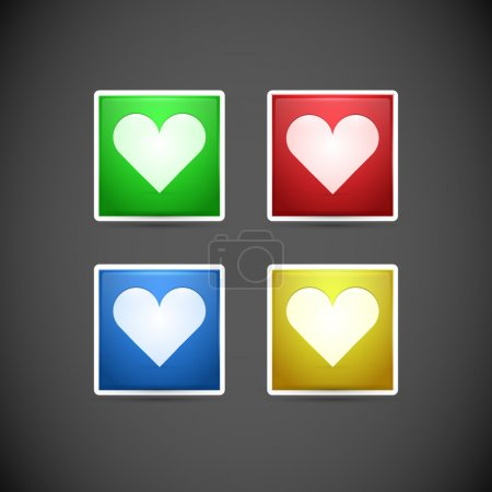 Vector set of buttons with hearts.