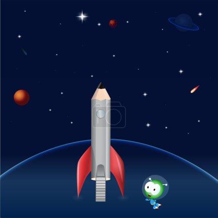 pencil rocket. Vector illustration.