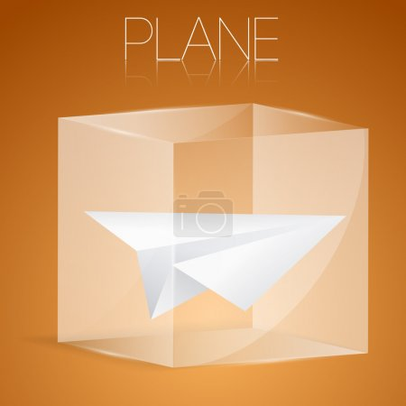 Paper airplane in glass box. Vector illustration.