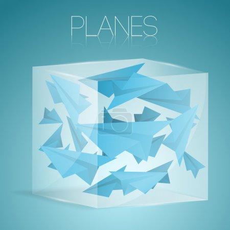 Illustration pour Avions en papier dans une boîte en verre. Illustration vectorielle . - image libre de droit