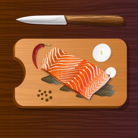 Illustration pour Saumon aux épices sur planche de bois. Illustration vectorielle . - image libre de droit