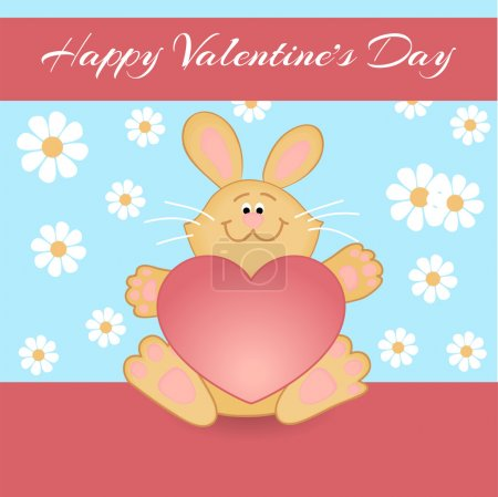 Vector greeting card with rabbit for Valentine's day.
