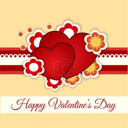 Illustration pour Carte de vœux vectorielle avec coeur pour la Saint-Valentin . - image libre de droit
