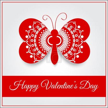 Carte de v?ux vectorielle avec papillon pour la Saint Valentin .