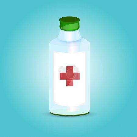 Photo pour Flacon de médicament avec croix . - image libre de droit