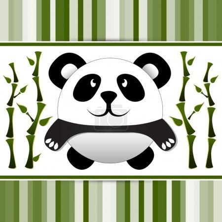 Illustration pour Petit panda et bambou. Illustration vectorielle . - image libre de droit
