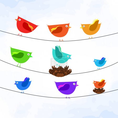 Vector illustration of colorful birds on wires.