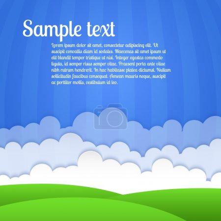 Illustration pour Paysage vectoriel avec champ et nuages . - image libre de droit