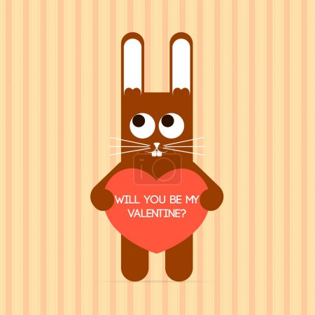 Photo for Vector cute rabbit with Valentine card. - Royalty Free Image