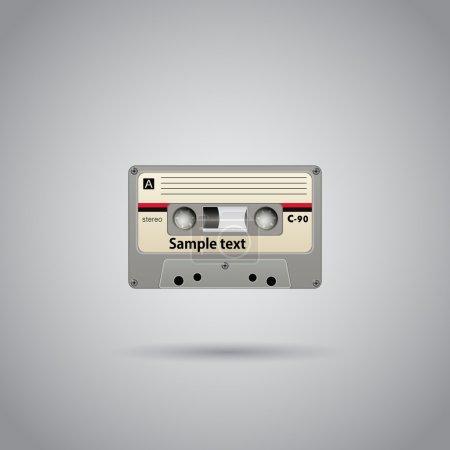 Illustration pour Vieille école enregistrement sur cassette avec copyspace. Vecteur - image libre de droit