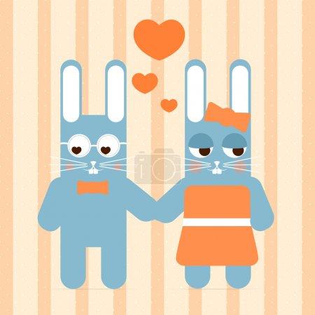 Vector cute couple of rabbit in love.