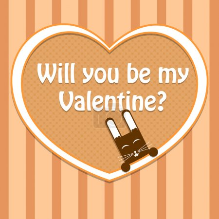 Photo for Vector Valentine card with cute rabbit. - Royalty Free Image