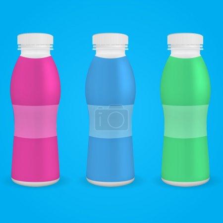Illustration pour Bouteille en plastique yaourt à boire. Illustration vectorielle. PSE10 - image libre de droit