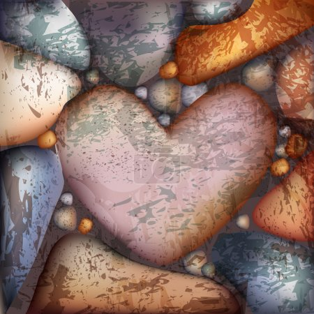 Vector background with stone hearts.