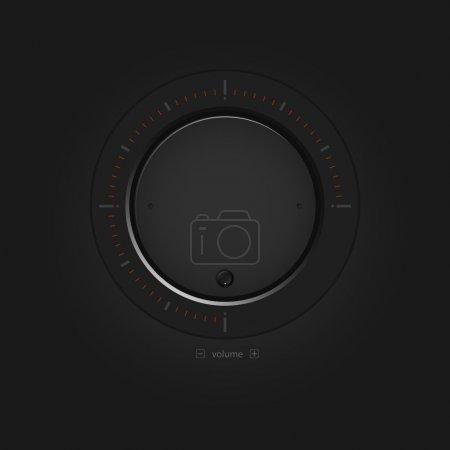Vector black volume button.