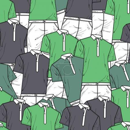 Illustration pour Fond vectoriel avec t-shirts polo. Illustration vectorielle . - image libre de droit