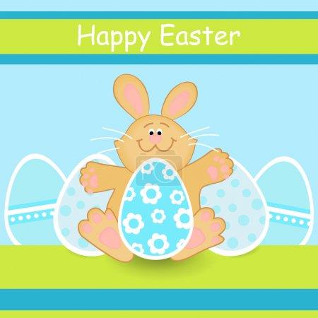 Illustration pour Bonne carte de Pâques avec lapin de Pâques - Illustration vectorielle - image libre de droit
