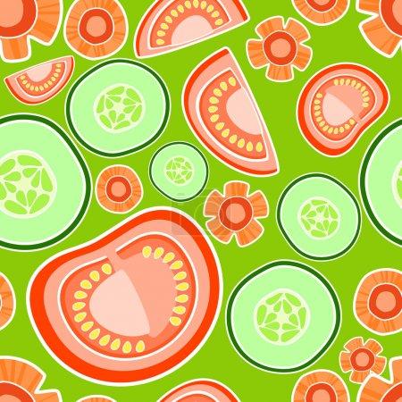 Illustration pour Fond vectoriel avec tomates et concombres . - image libre de droit