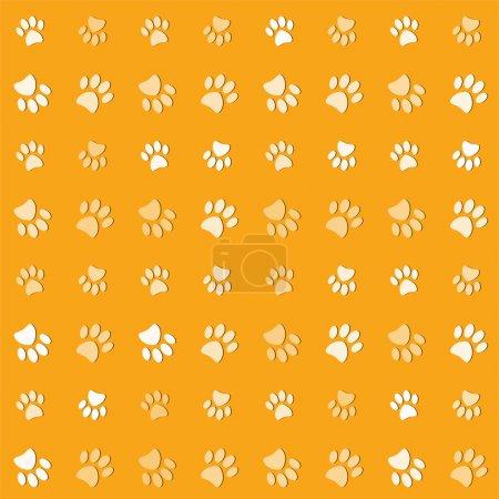 Photo pour Illustration animaux pattes imprimer sur un fond jaune - image libre de droit