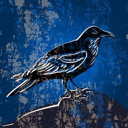 Illustration pour Fond vectoriel grunge avec corbeau . - image libre de droit
