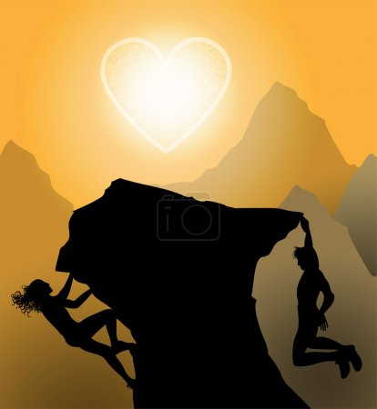 Sunset climbers. Couple climp up to their love