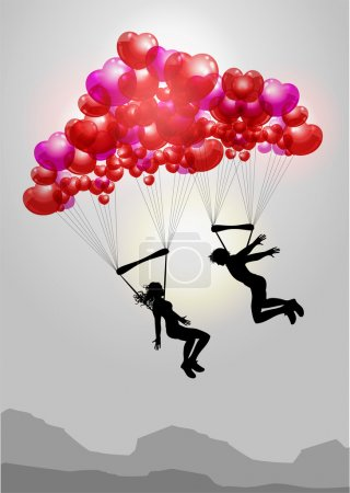 Illustration for Couple flying on parachutes made of hearts - Royalty Free Image