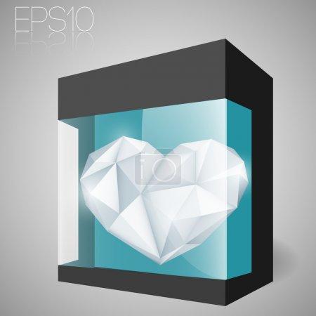 Illustration pour Coeur de bijoux en boîte en verre. Illustration vectorielle . - image libre de droit