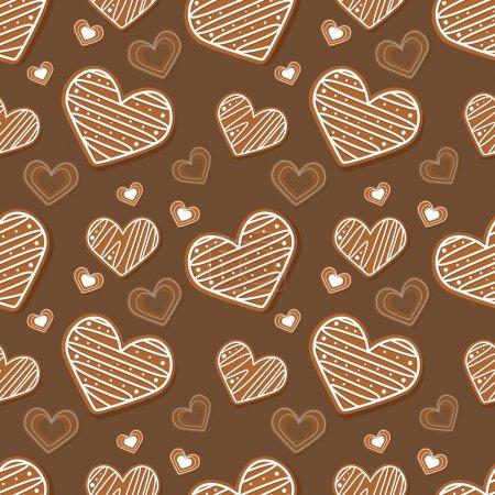 Illustration pour Fond brun vecteur avec des coeurs . - image libre de droit