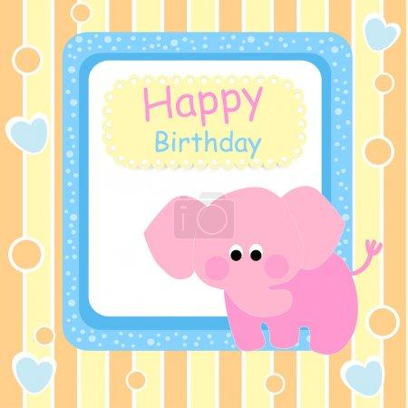 Illustration pour Carte d'anniversaire avec éléphant rose - illustration vectorielle - image libre de droit