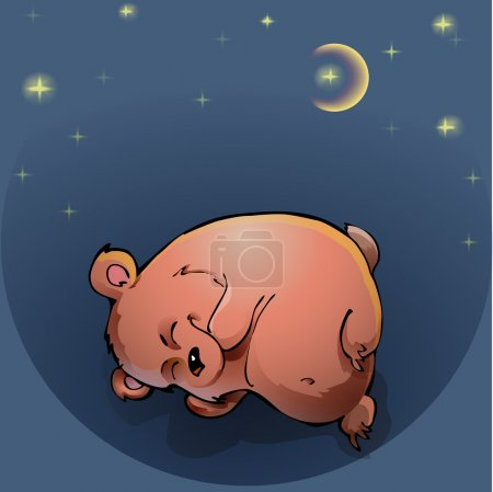 Teddy bear sleeping under the night sky