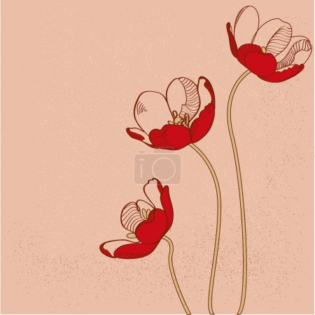 Illustration for Vector red tulips. Vector illustration. - Royalty Free Image