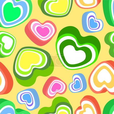 Vector background with colorful hearts.
