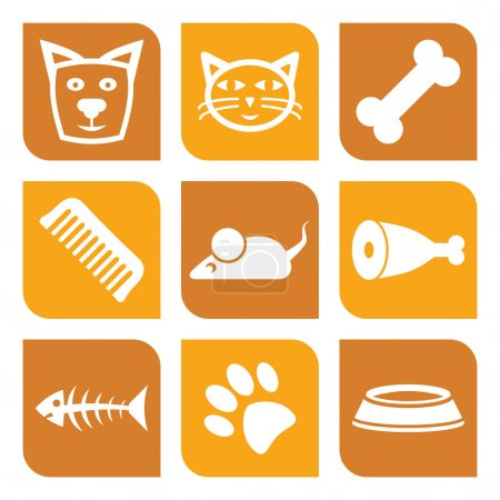 Illustration for Collection of pet icons - vector illustration dogs and cats - Royalty Free Image