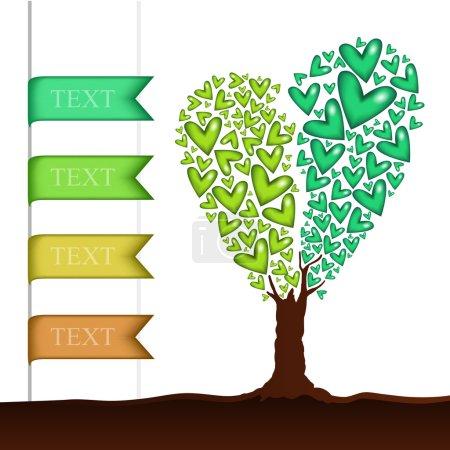 Photo pour Fond vectoriel avec arbre en forme de coeur . - image libre de droit