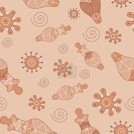 Illustration for Antique oriental seamless pattern - trypillian vector illustration - Royalty Free Image