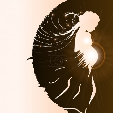 Silhouette of pregnant woman - vector illustration