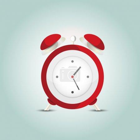 Vector illustration of red alarm clock.