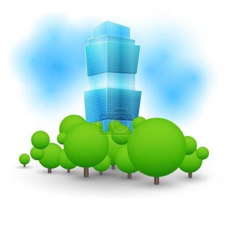 Green landscape with skyscraper.