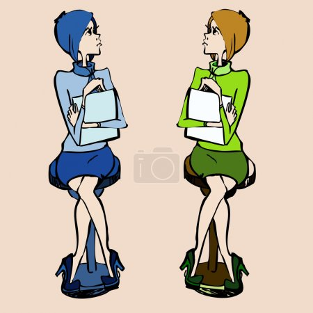Illustration of two beautiful young student girls