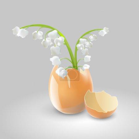 Ilustración vectorial de lirios del valle en cáscara de huevo .